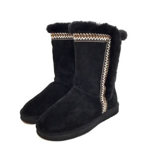 Lamo Black Embroidered Midcalf Zip Shearling Boots
